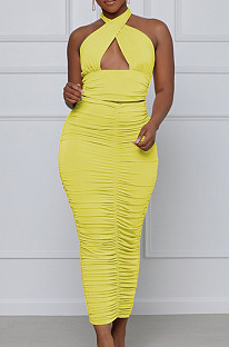 Yellow Fashion Sexy Tops Hollow Out Strapless Fold Skirts Sets WY6819-3
