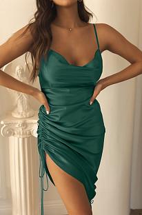 Dark Green Condole Belt Package Buttocks Dress X9312-4