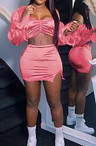 Pink Strapless Puff Sleeve Ruffle Lace Fashion Sexy Two Piece SZS8073-2