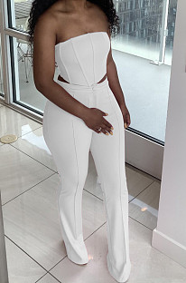 White Euramerican Sexy Tops Strapless Back With Zipper Long Pant Sets WY6820-1