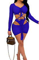 Peacock Blue Strapless Tie The Rope V Neck Sexy Fashion Three Piece SZS8063-4