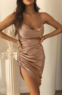 Light Coffee Condole Belt Package Buttocks Dress X9312-1