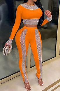 Orange High Waist Pure Color Long Sleeve Pants Sets YF9084-5