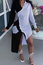 Black Fashion Spliced Shirt Long Dress Wish Pocket WY6818-2