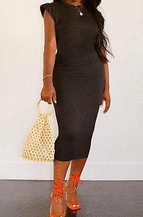 Black Women Sleeveless Shoulder Pads Pure Color Midi Dress LW8870-1