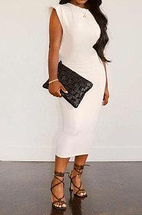 White Women Sleeveless Shoulder Pads Pure Color Midi Dress LW8870-2