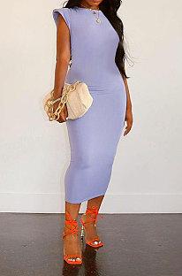 Light Purple Women Sleeveless Shoulder Pads Pure Color Midi Dress LW8870-5