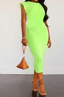Neon Green Women Sleeveless Shoulder Pads Pure Color Midi Dress LW8870-4