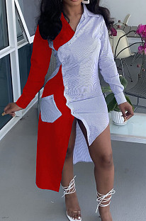 Red Fashion Spliced Shirt Long Dress Wish Pocket WY6818-1