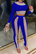 Blue High Waist Pure Color Long Sleeve Pants Sets YF9084-4