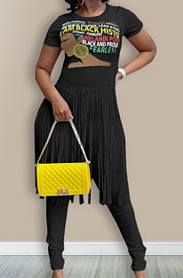 Black Euramerican Women Pure Color Tassel Printing Trendy Blouse LW8872-2