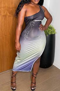 Gradient Summer Fashion Oblique Shoulder Gradient Print Dress YC8036