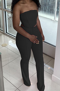 Black Euramerican Sexy Tops Strapless Back With Zipper Long Pant Sets WY6820-3