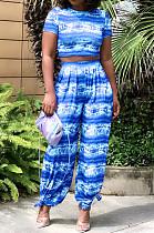 Blue Night Club Printing Short Sleeve Wide Leg Pant Sets X9315-2