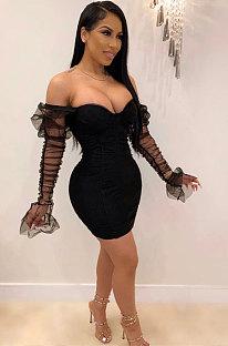 Women Sexy Strapless Spliced Mesh Sleeve Trendy Tight Mini Dress MS1279