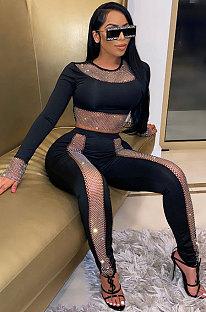 Black High Waist Pure Color Long Sleeve Pants Sets YF9084-2