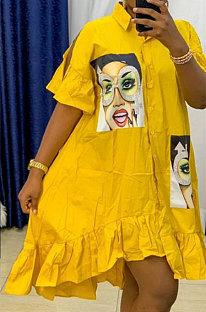 Casual Button Loose Printing Women Irregular Dress BMD030
