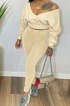 Beige Women V Neck Long Sleeve Long Pant Pure Color Two-Pieces HYM86814-1