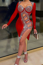 Red Mid Waist Hot Drilling Pure Color Sexy Polyester Mesh Long Sleeve Mini Dress YF9104-2