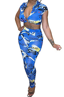 Blue Women Tie Dye Printing Short Sleeve Long Pants HYM86813