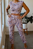 Blue Women Sleeveless Drawsting Casual Sports Pants Sets JZH8067