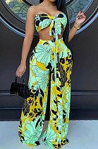 Green Milk Silk Printing Sleeveless Strapless Sexy Pants Sets YF9082-1
