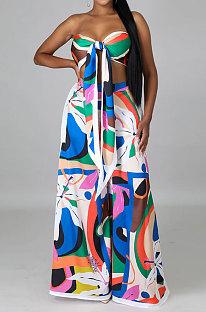 Colorful Milk Silk Printing Sleeveless Strapless Sexy Pants Sets YF9082-6