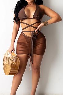 Dark Brown Hollow Out Strapless Hip Skirt Drawshing Swimsuits Bikini Three Piece SZS8130-3