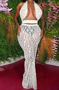 White Polka Dot Mesh Sexy Pants Sets YF9096-2