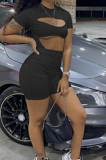 Black Night Club Sexy Holow Out Shorts Two Piece FH168-5