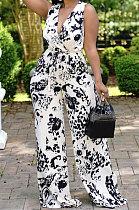 Black White Women Deep V Loose With Belt Pocket Casual Jumpsuits JZH8066