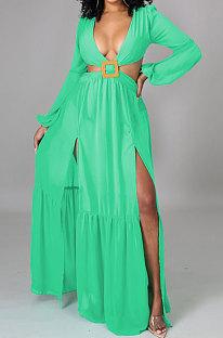 Green Long Sleeve Mid Waist Sexy Zipper Pure Color Long Dress YF9105-2