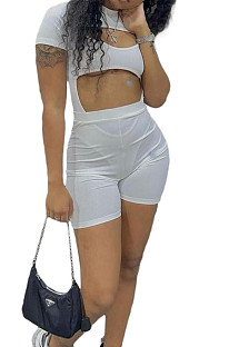 White Night Club Sexy Holow Out Shorts Two Piece FH168-1