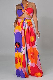 Red Milk Silk Printing Sleeveless Strapless Sexy Pants Sets YF9082-4