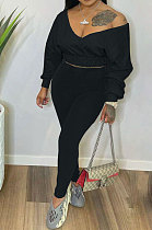 Black Women V Neck Long Sleeve Long Pant Pure Color Two-Pieces HYM86814-2