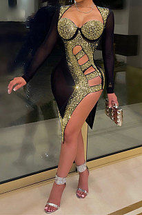 Golden Mid Waist Hot Drilling Pure Color Sexy Polyester Mesh Long Sleeve Mini Dress YF9104-3