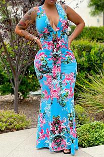 Blue Red Flower Deep V Neck Sleeveless Print Chest Spliced Long Dress WY6822-1