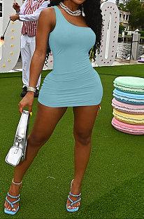 Sky Blue Women Sexy Pure Color Mid Waist Hip One Shoulder Mini Dress YM207-5