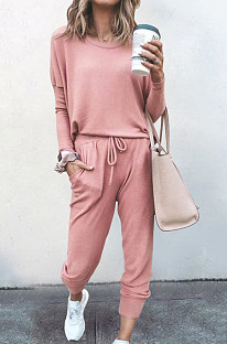 Pink Pure Color Long Sleeve T Shirt Long Pants Casual Sports Sets X9320-2