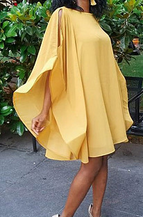 Yellow Sexy Casual Loose Flutter Dress C1031