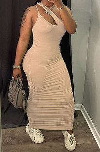 Apricot Women Side Shirred Detail One Shoulder Pure Color Long Dress AA5254-4