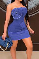 Light Blue Digital Print Positioning Print Strapless Copy Jean Fashion Sexy Dress SZS8138-2