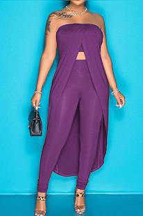 Purple Pure Color Strapless Cloak Long Pants Two Piece C3059-2
