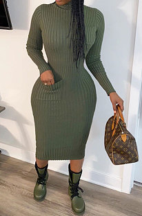 Dark Green Women Pure Color With Pocket High Elastic Ribber Casual Midi Dress ARM8142
