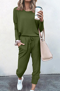 Army Green Pure Color Long Sleeve T Shirt Long Pants Casual Sports Sets X9320-1