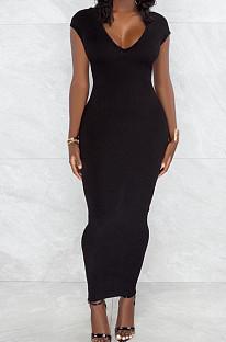 Black Pure Color Fashion V Neck Backless Slit Zipper Bodycon Dress WY6825-3