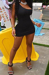 Black Women Sexy Pure Color Mid Waist Hip One Shoulder Mini Dress YM207-4
