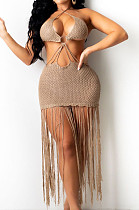 Dark Khaki Knitting Halter Neck Strapless Tassel Beach Dress TRS1166-4