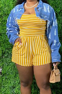Yellow Big Yard Stripe Strapless Slim Fitting Casual Jumpsuits TZ6013-2