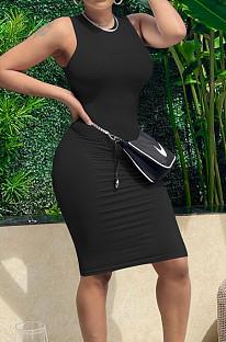 Black Pure Color High Elastic Casual Fashion Sleeveless Dress YYZ754-3